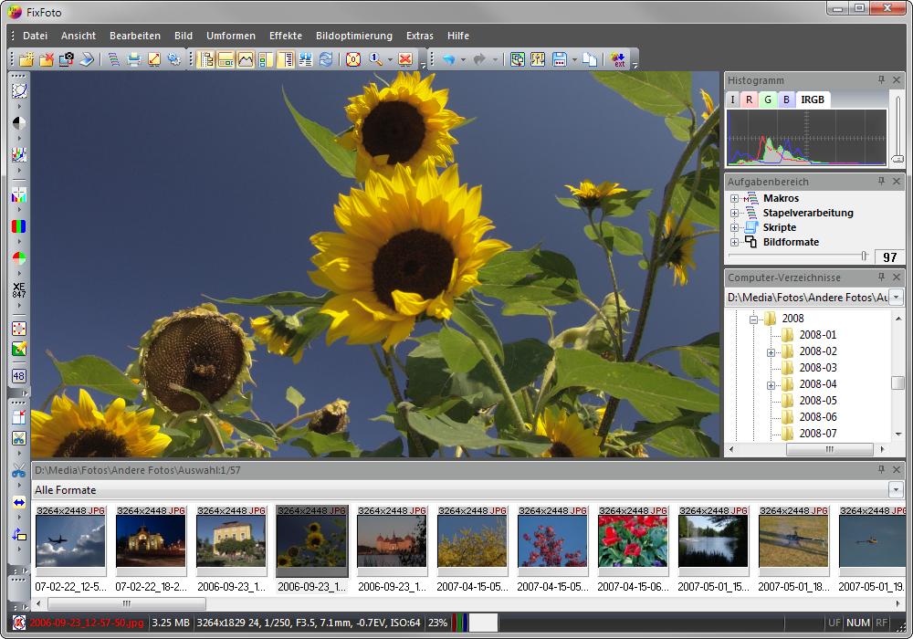 Die Oberfläche von FixFoto läßt sich nach eigenen Vorlieben einstellen